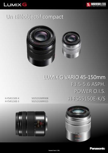 Panasonic Objectif pour Hybride Panasonic 45-150mm f/4-5.6 noir OIS Lumix G Vario - fiche produit