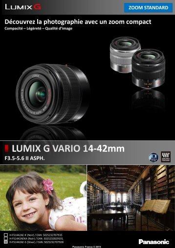 Panasonic Objectif pour Hybride Panasonic 14-42mm f3.5-5.6 II silver Lumix G Vario - fiche produit