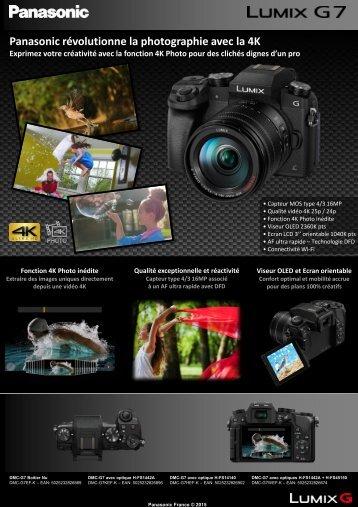 Panasonic Appareil photo Hybride Panasonic DMC-G7 noir Nu - fiche produit