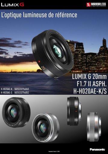 Panasonic Objectif pour Hybride Panasonic 20mm f/1.7 II silver Lumix G - fiche produit