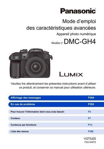 Panasonic Appareil photo Hybride Panasonic DMC-GH4 noir Nu - notice