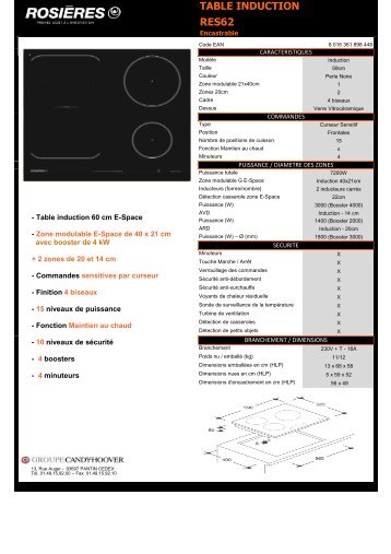 Rosieres Table induction Rosieres RES62 - fiche produit