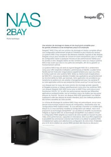 Seagate Serveur NAS Seagate 2 baies Ethernet Raid 0/1 sans disque - fiche produit