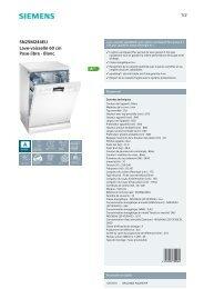 Siemens Lave vaisselle Siemens SN25M244EU - fiche produit