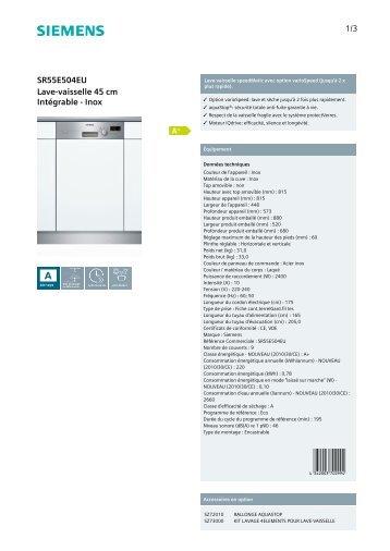 Siemens Lave vaisselle encastrable 45 cm Siemens SR55E504EU - fiche produit