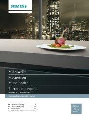 Siemens Micro ondes gril Siemens BE634LGS1 - notice