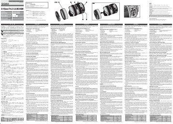 Sigma Objectif pour Reflex Sigma 8-16mm f/4.5-5.6 DC HSM Sony - notice