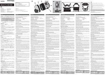 Sigma Objectif pour Reflex Plein Format Sigma 35mm f/1.4 DG HSM Art Nikon - notice