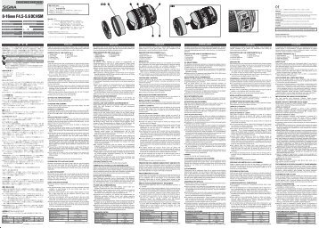 Sigma Objectif pour Reflex Sigma 8-16mm f/4.5-5.6 DC HSM Canon - notice