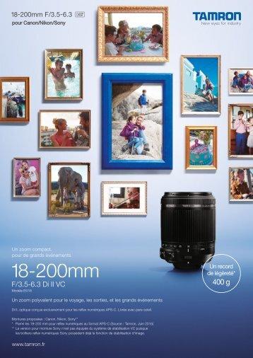 Tamron Objectif pour Reflex Tamron 18-200mm f/3.5-6.3 Di II VC Nikon - fiche produit