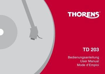Thorens Platine vinyle Thorens TD 203 Noire - notice