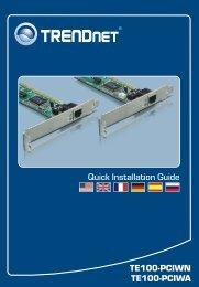 Trendnet Carte PCI Trendnet Carte PCI Ethernet 10/100Mbps TE100-PCIW - notice