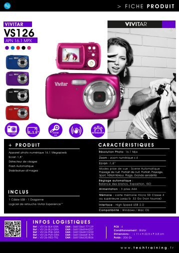Vivitar Appareil photo Compact Vivitar VS126 noir - fiche produit