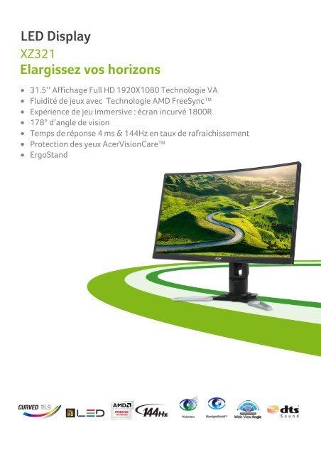 Acer Ecran Pc Gamer Acer Xz321qbmijpphzx Curved Fiche Produit