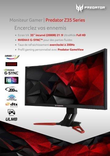 Acer Ecran PC Gamer Acer Predator Z35 G-Sync v2 - fiche produit