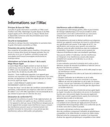 Apple iMac (Retina 5K, 27 pouces, fin 2015) - Guide d'informations importantes sur le produit - iMac (Retina 5K, 27 pouces, fin 2015) - Guide d'informations importantes sur le produit