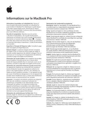 Apple MacBook Pro (Retina, 13 pouces, début 2015) - Guide d'informations importantes sur le produit - MacBook Pro (Retina, 13 pouces, début 2015) - Guide d'informations importantes sur le produit