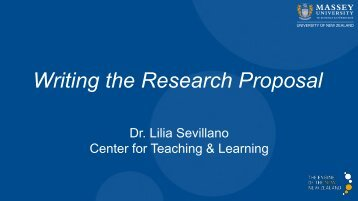 Writing the Research Proposal