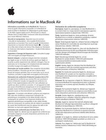 Apple MacBook Air (11 pouces, début 2015) - Guide d'informations importantes sur le produit - MacBook Air (11 pouces, début 2015) - Guide d'informations importantes sur le produit