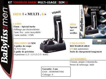 Babyliss Tondeuse multi usages Babyliss E823E KIT 6 EN 1 MULTIUSAGE - fiche produit