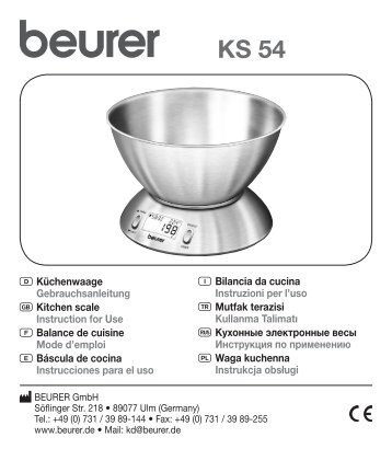 Beurer Balance de cuisine Beurer KS 54 Acier - notice