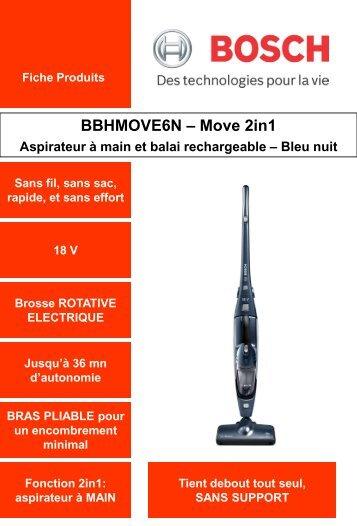 Bosch Aspirateur balai Bosch BBHMOVE6N - fiche produit