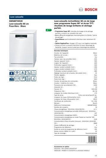 Bosch Lave vaisselle Bosch PG SMS88TW02E - fiche produit