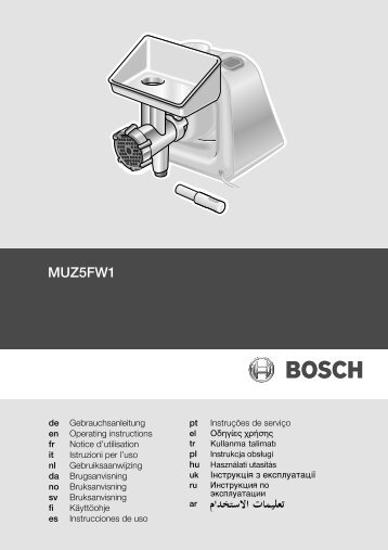 Bosch Hachoir Bosch MUZ5FW1 - notice