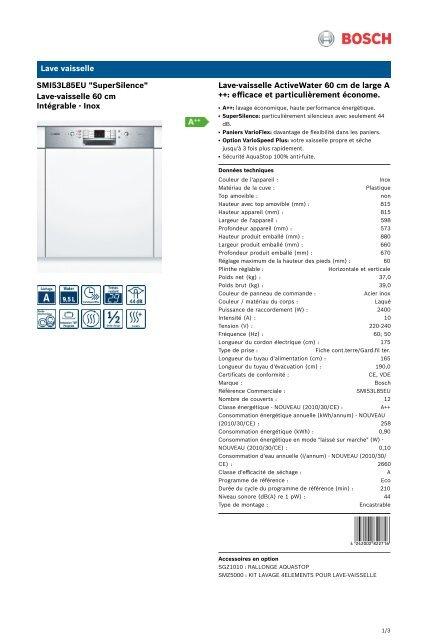 bosch lave vaisselle bosch smi53l85eu mode d'emploi et notice pdf