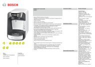 Bosch Tassimo Bosch TAS3204 Suny Blanche - fiche produit