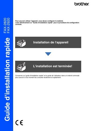 Brother FAX-2920 - Guide d'installation rapide