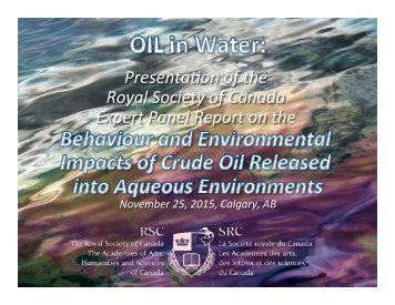Presenta(on of the Royal Society of Canada Expert Panel Report on the