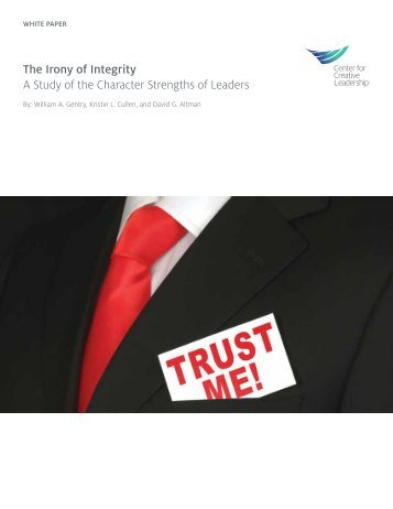 The Irony of Integrity A Study of the Character Strengths of Leaders