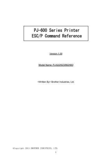 Brother PJ-623 - Référence des commandes ESC/ P