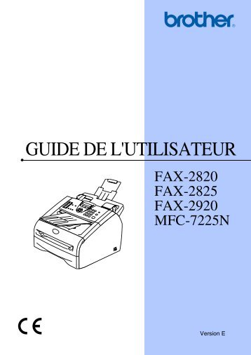 Brother FAX-2820 - Guide utilisateur