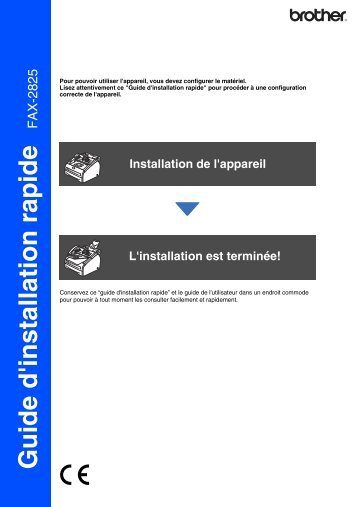 Brother FAX-2825 - Guide d'installation rapide