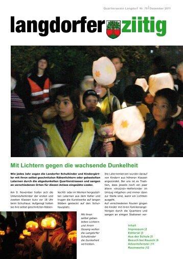 Mit Lichtern gegen die wachsende Dunkelheit - Quartierverein ...