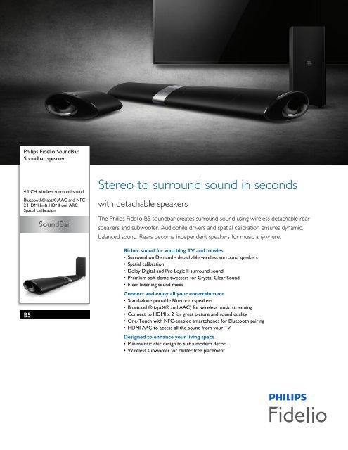 Philips Fidelio Soundbar speaker - Leaflet - AEN