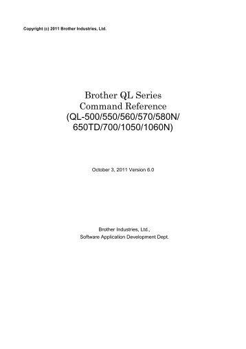 Brother QL-700 - Référence de Commande Raster