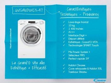 Candy Lave linge hublot Candy GVS 1410 DWC3-47 - fiche produit