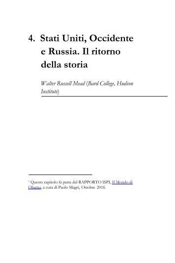 4 Stati Uniti Occidente e Russia Il ritorno della storia