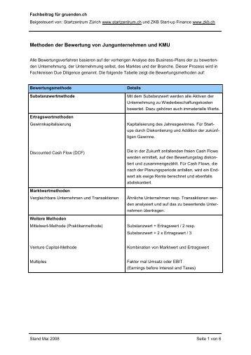 Methoden der Bewertung von Jungunternehmen und KMU
