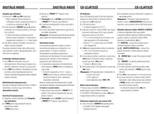 Philips CD Soundmachine - User manual - HUN