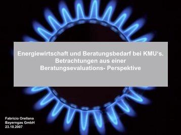 Energiewirtschaft und Beratungsbedarf bei KMU's. Betrachtungen ...