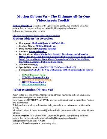 Motion Objects V2 review- Motion Objects V2 (MEGA) $21,400 bonus