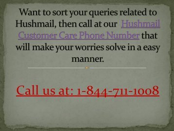 1-844-711-1008 Hushmail Customer Care Phone Number