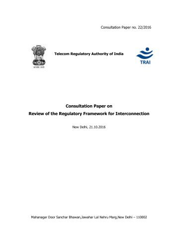 Consultation Paper on Review of the Regulatory Framework for Interconnection