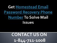 1-844-711-1008 Homestead Email Password Recovery Phone Number