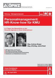 Personalmanagement: HR-Know-how für KMU - ÖPWZ