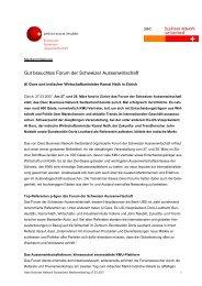 Gut besuchtes Forum der Schweizer Aussenwirtschaft - Über die Osec